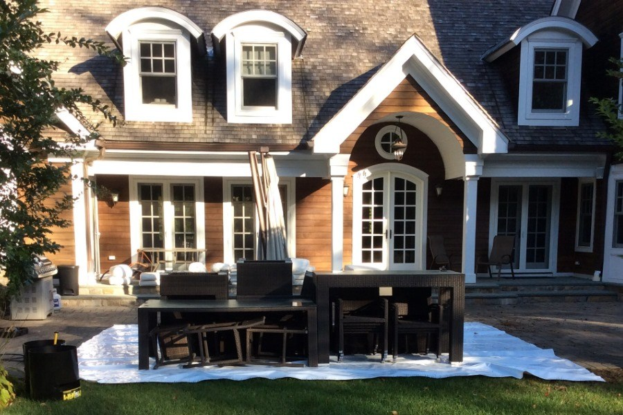 During Shrink Wrapping Outdoor Furniture   Port Jefferson, NY